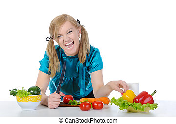 Happy women in the kitchen. - young women in the kitchen....