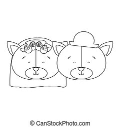 monochrome contour with faces couple of married bears