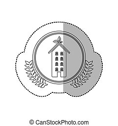 sticker monochrome half shadow and apartment with several...