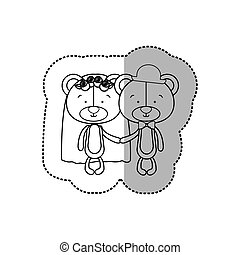 sticker monochrome with half shadow with couple bears just married