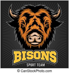 Buffalo head with horns. Logo for any sport team bison -...