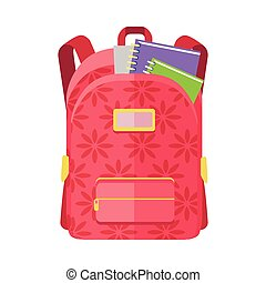 Backpack Schoolbag Icon with Notebook Ruler - Rred backpack...