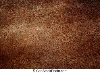 Brown shiny leather texture. Close up shot.