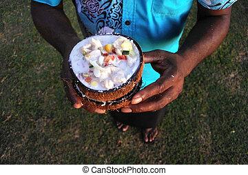 salad), kokoda, fish, cibo, serve, Indigeno, fijian, (raw,...