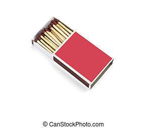 match box fire - close up of a match box on white background...