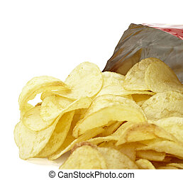 potato chips junk salted food - close up of potato chips on...