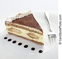 cream chocolate cake sweet food - close up of cream cake on...