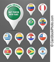 Set the pointer to the map with the flag of South American countries,