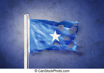 Torn flag of Somalia flying against grunge background.