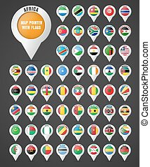 Set the pointer to the map with the flag of the countries of Africa