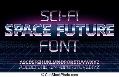 Sci-Fi retro font - Sci-Fi space future font in 80's retro...
