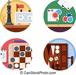 Board games set of icons - Board games set. Chess and...