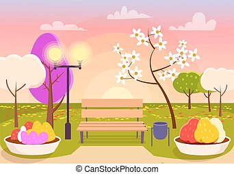 Spring Scenery. Urban Park with Bench, Flower Beds