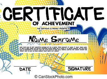 Vector illustrated certificate template with comic book...
