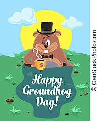 Happy groundhog day illustration. - Greeting card February...