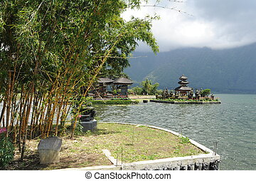 Pura Ulun Danu Bratan famous temple on the lake at Bedugul...