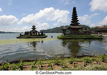 Pura Ulun Danu Bratan famous temple on the lake at Bedugul...