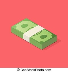 Stack of money. - Dollar bills stack. Isometric business...