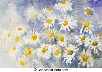 camomile watercolor background - Watercolor background with...