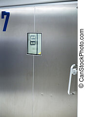 Hospital ward emergency room operating theater door and...