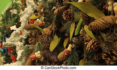 Christmas tree with brown toys and decorations background....