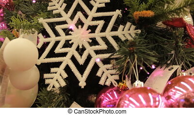 Christmas tree with pink toys and decorations background....