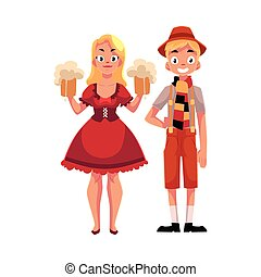 Young man and woman in traditional German, Bavarian...