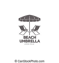 Logo template with beach umbrella and sun bathing lounge...