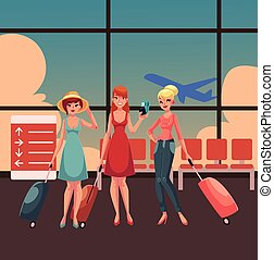 hree girls, in dress and jeans, travelling together with suitcases