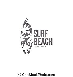 Black, white surfing logo template with palm tree pattern surfboard