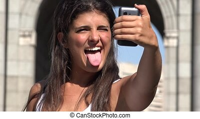 Woman On Vacation Taking Selfie