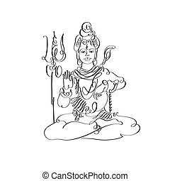 Lord Shiva black and white calligraphic drawing to Maha...