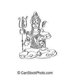 line art Lord Shiva black and white calligraphic drawing to...