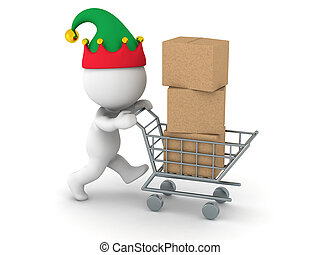 3D Character with Elf Hat with Cardboard Boxes in Shopping...