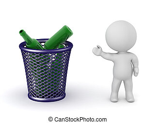 3D Character Showing Trash Basket with Bottles - A 3D...