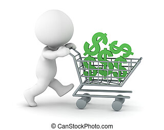 3D Character with Shopping Cart and Dollar Symbols - A 3D...