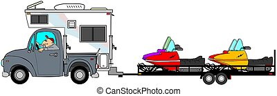 Truck and camper pulling snowmobiles