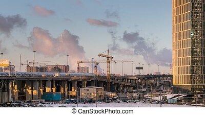 Construction cranes Moscow Time-lapse - construction cranes...