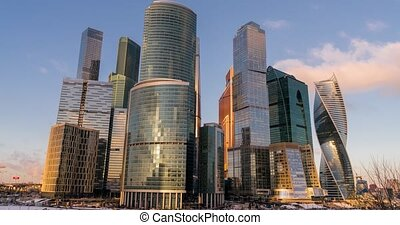 Business Center Moscow City Skyscrapers Time-lapse -...