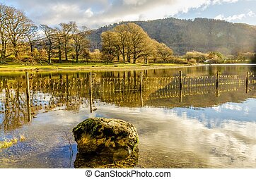Rock reflected in Derwentwater - a view of the Northern end...