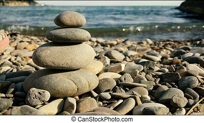 Balanced Spa Stones on a Background of the Sea - background...