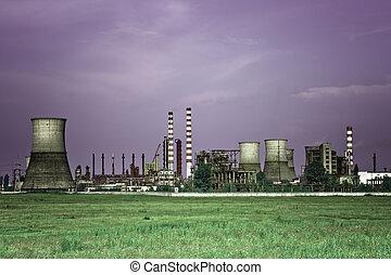 Industrial, indústria,  -, refinaria, óleo, tóxico