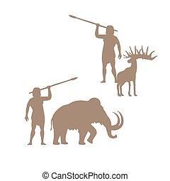 Silhouettes of ancient man and animals, mammoth and deer,...