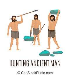 Hunting ancient men, isolated vector icons on white...