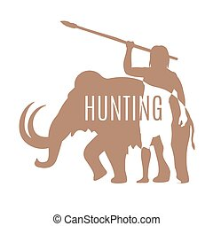 Ancient man hunting mammoth logo template - Hunting logo...