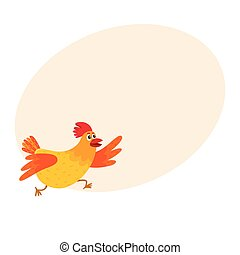 Funny cartoon red and orange chicken, hen rushing, hurrying...