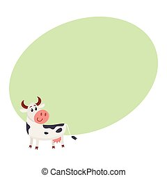 Funny black white spotted cow standing and looking back,...