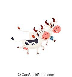 Two spotted cows walking together romantically, cartoon...