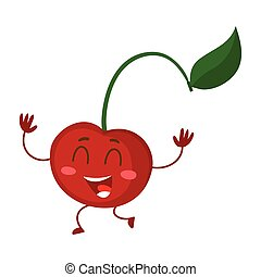 Cute and funny comic style cherry character running hands up