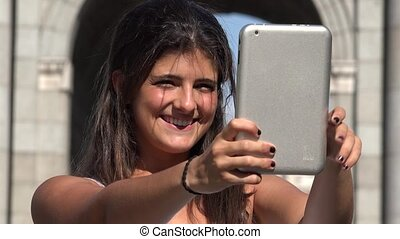 Tourism Woman Selfie With Tablet